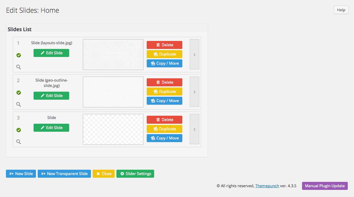 revolution slider - modificare le slide in WordPress